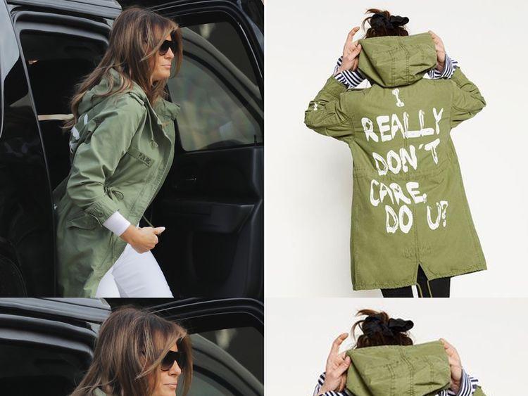 Melania Trump pictured wearing the Zara jacket. Pic: Getty/Zara