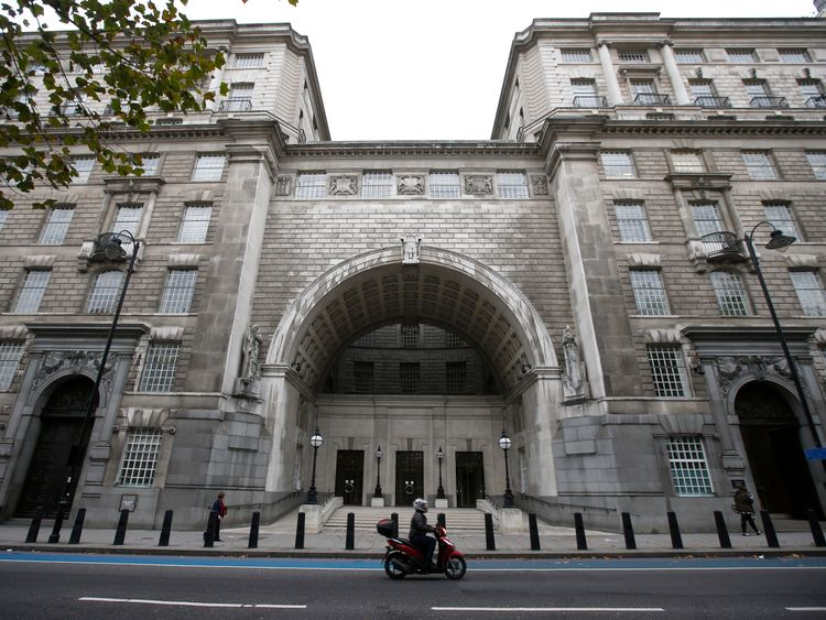 Thames House, the headquarters of the British Security Service (MI5)