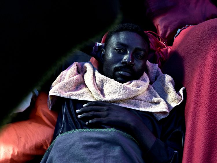A migrant pictured on board the Aquarius vessel on its way to Valencia