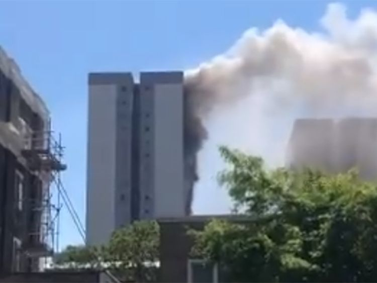 Huge fire breaks out in 12th-floor flat in London tower block