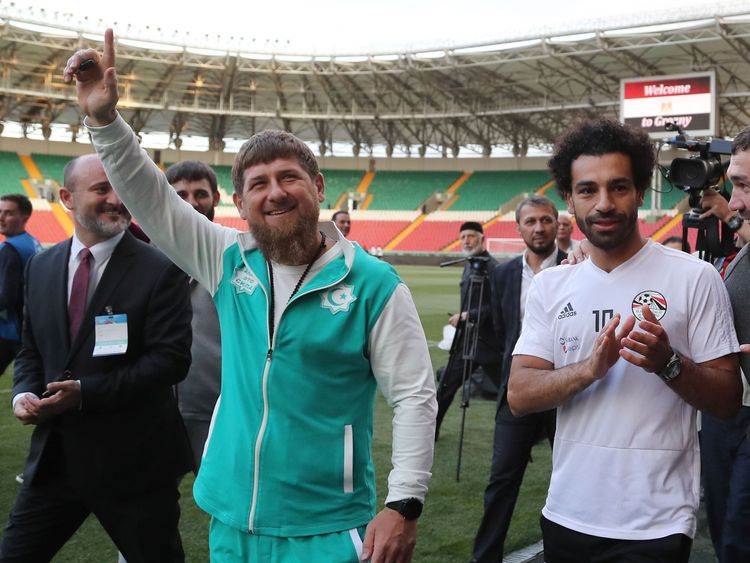 Ramzan Kadyrov looked overjoyed to meet the Liverpool striker
