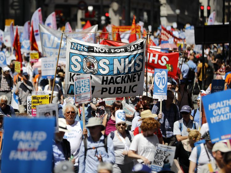 Thousands marched on Westminster in support of healthcare