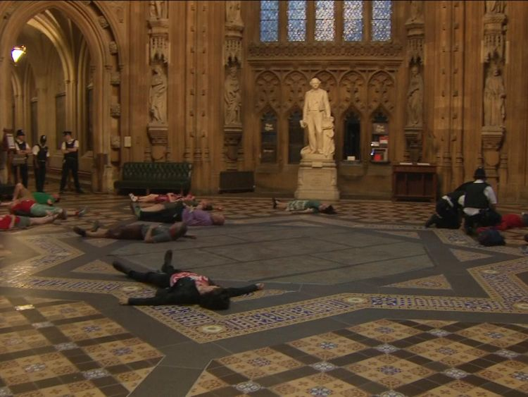 Protesters lie down in the Houses of Parliament ahead of a vote on Heathrow's expansion