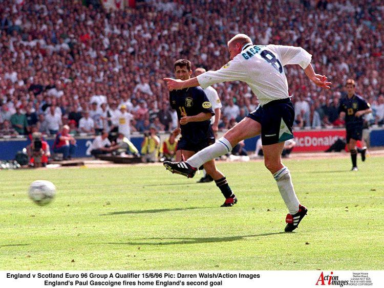Paul Gascoigne fires home against Scotland at Euro 96