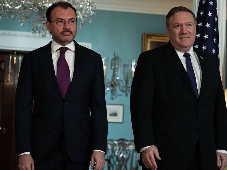 U.S. Secretary of State Mike Pompeo (R) participates in a photo-op with Mexican Foreign Secretary Luis Videgaray Caso (L) at the State Department June 5, 2018 in Washington, DC