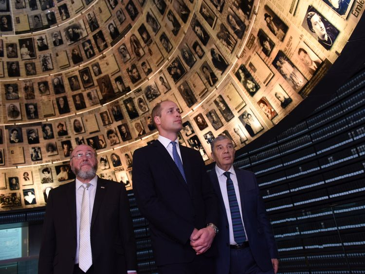 William, Chairman of Yad Vashem Avner Shalev and Britain's Chief Rabbi Ephraim Mirvis visit the Hall of Names