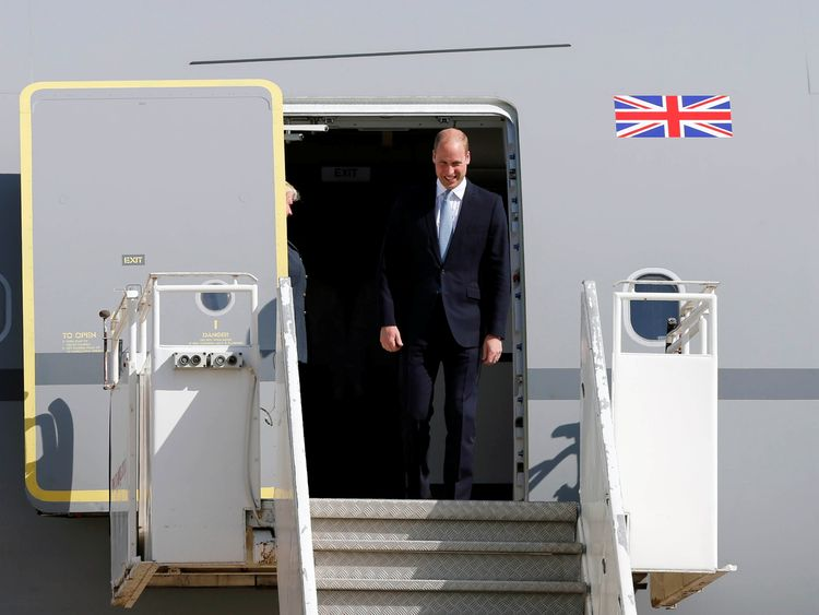 Prince William arriving in Amman, Jordan