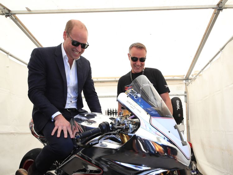 William trying out a Norton SG7 at the Isle of Man TT