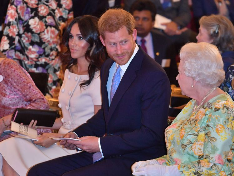 The Queen with the Duke and Duchess of Sussex