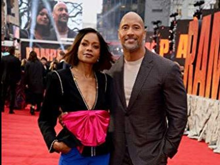 Johnson and co-star Naomie Harris on the red carpet