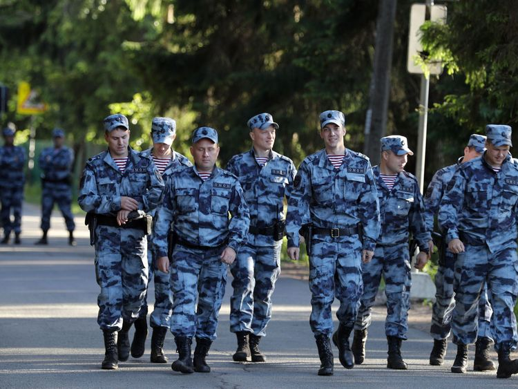 Police outside the England squad's base in Repino, Russia