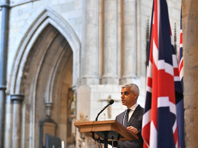 Sadiq Khan read at the service