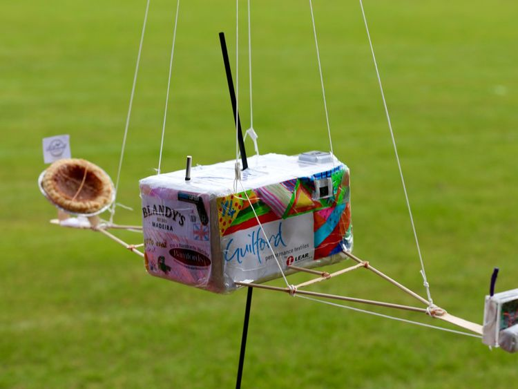 The pudding was attached to this innovate homemade aircraft. Pic: St Anselm's School (Facebook)