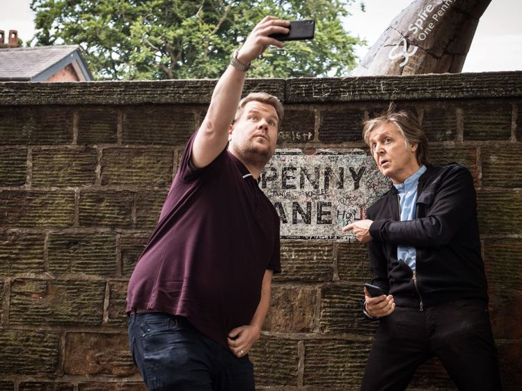 Sir Paul and James Corden in Penny Lane. Pic Twitter/@latelateshow