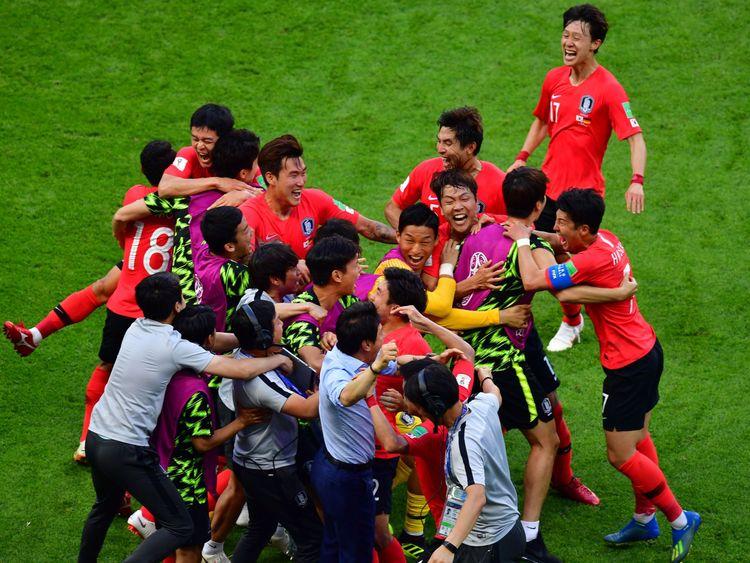 South Korea celebrate their late winner