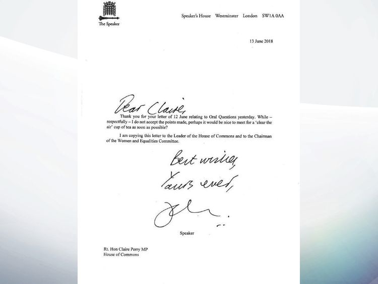 The Speaker's letter to Clair Perry
