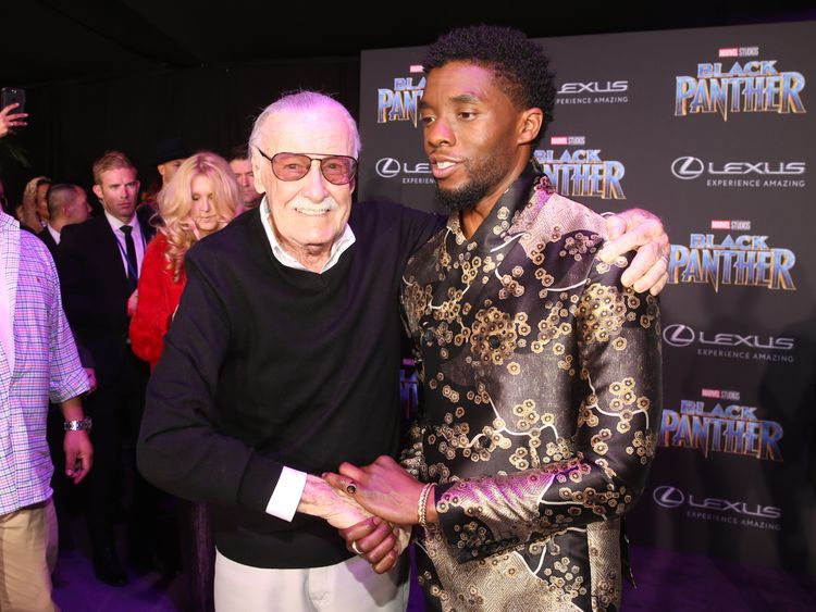 Executive producer Stan Lee (L) and actor Chadwick Boseman at the Black Panther premier this year