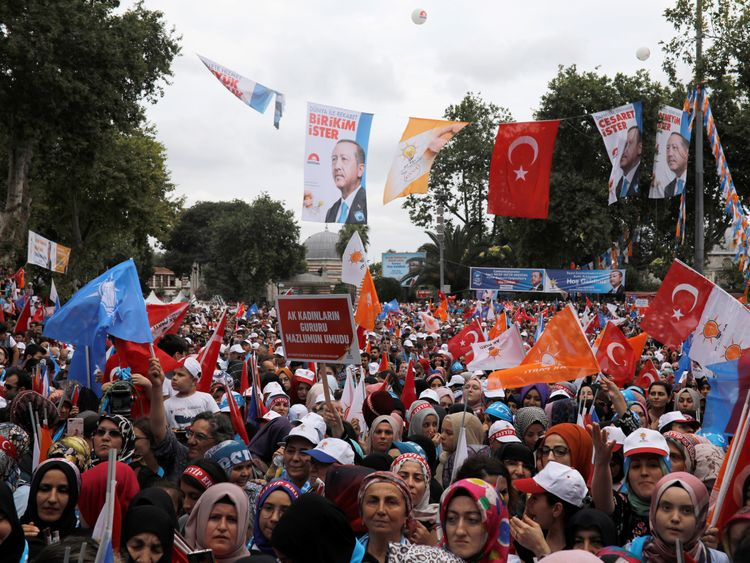 Supporters at Mr Erdogan's rally