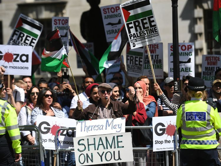 Demonstrators on Whitehall ahead of the arrival of Benjamin Netanyahu for a bilateral meeting with Theresa May