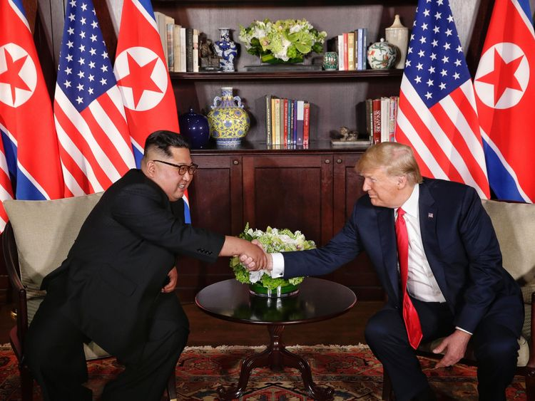 Kim Jong Un and Donald Trump have first meeting