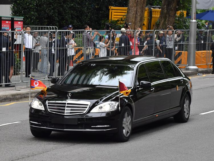 Kim Jong Un's motorcade as he arrives for the historic summit