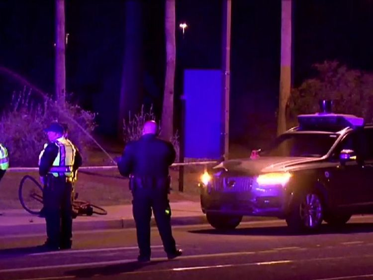 Police at the crash scene in Arizona