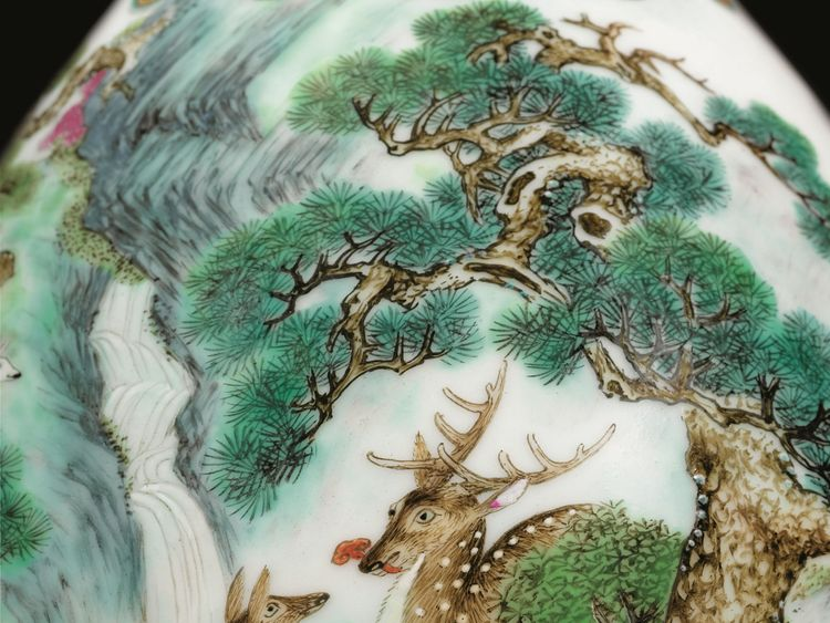 Detail of rare 18th Century Chinese vase which sold for 16.2m euros at an auction in France