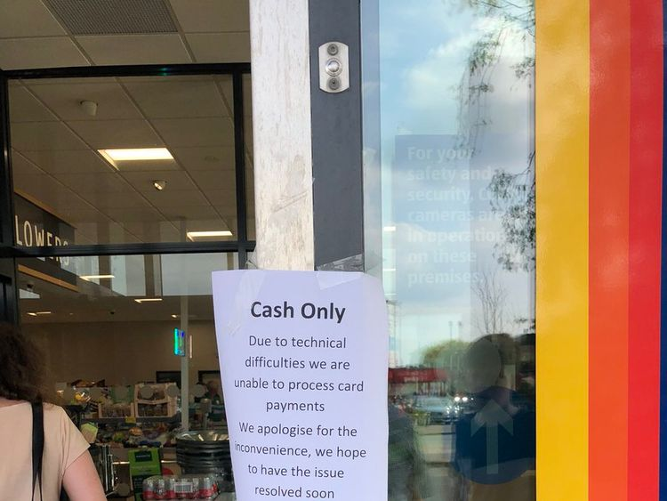 An Aldi store in Manchester was forced to post a sign outside about the problems. Credit: MancBees