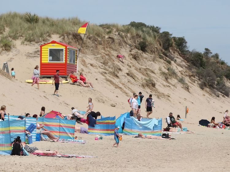 Sun bathers on the beach in Brittas Bay Co Wicklow as Ireland braces itself for the hottest weather of the year next week when it will be above 30C