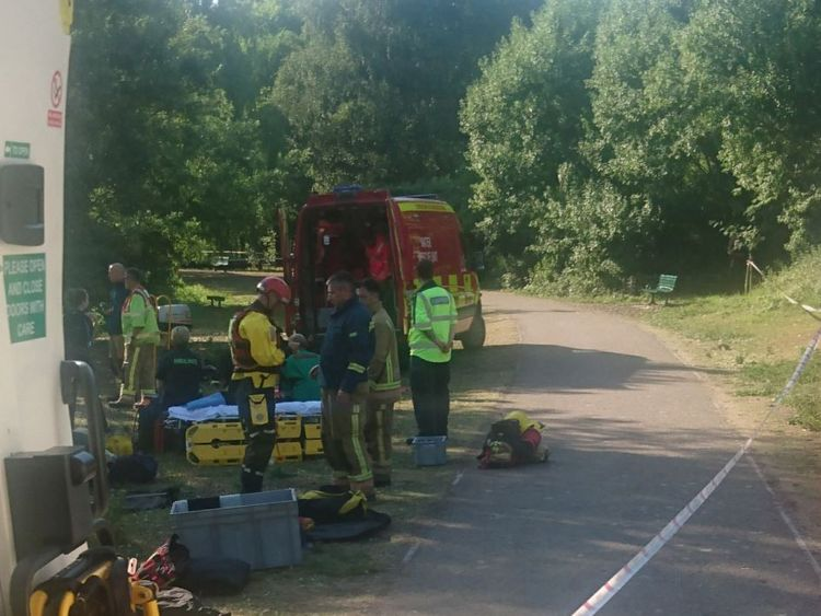 Emergency crews search for a missing child at Westport Lake in Stoke. Pic: @wmasdbaddeley/Dave Baddeley
