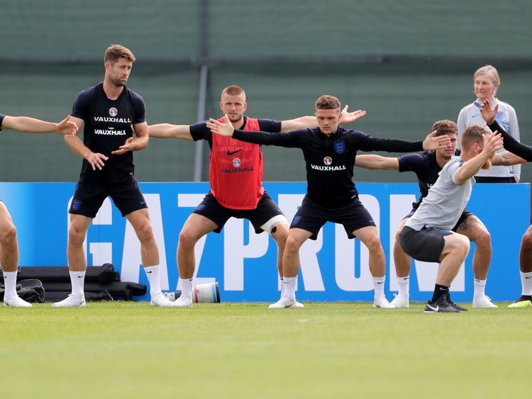 The England team training the day before its first World Cup game in Russia