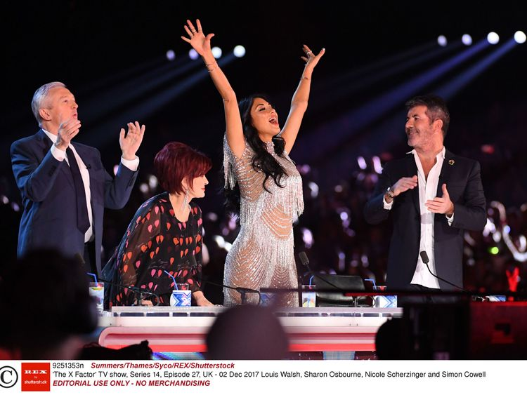 Louis Walsh, Sharon Osbourne, Nicole Scherzinger and Simon Cowell