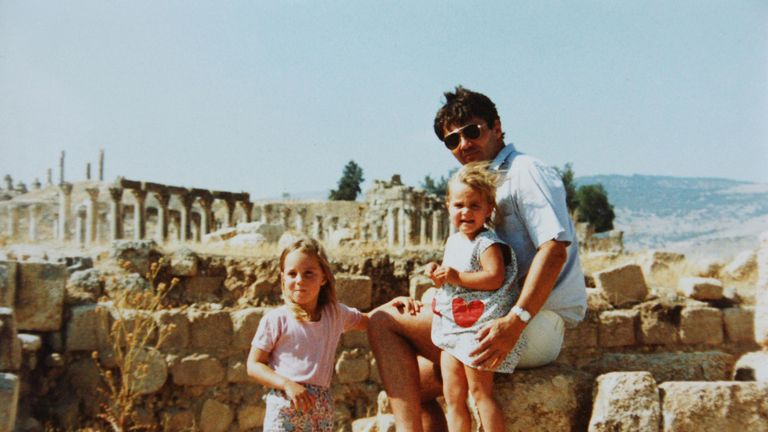 The Duchess of Cambridge when she was four, with her father Michael and sister Pippa at Jerash in Jordan