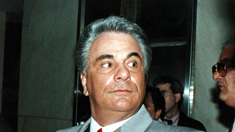 Former Mafia boss John Gotti, who died in 2002, pictured here in 1990
