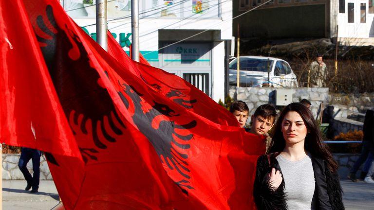 Albanian flag in Kosovo