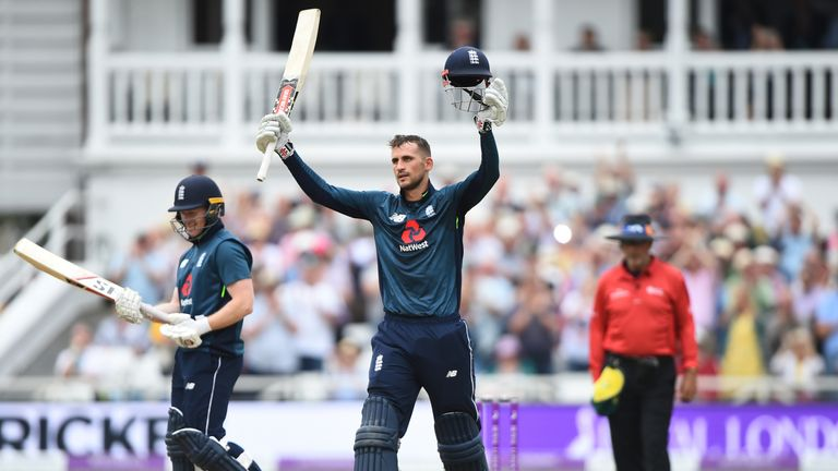 Alex Hales of England raises his bat after scoring 100 runs during the 3rd Royal London ODI match between England and Australia at Trent Bridge on June 19, 2018 in Nottingham, England