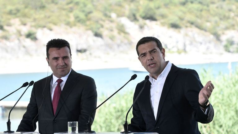 Greek Prime Minister Alexis Tsipras, right, and Macedonian Prime Minister Zoran Zaev at the ceremony