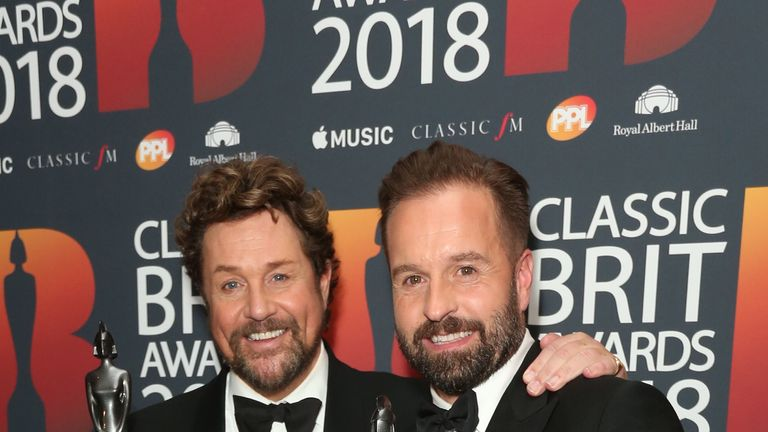 Michael Ball (L) and Alfie Boe shared two awards as well as a kiss