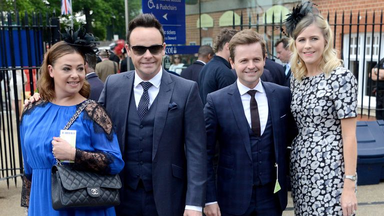 Lisa Armstrong (L-R), Ant McPartlin, Declan Donnelly and his wife Ali Astall at Royal Ascot in 2015