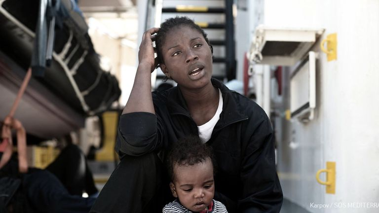 Aid workers are helping migrants on the Aquarius rescue boat. Pic: SOS Mediterranee