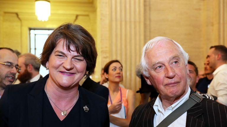 Arlene Foster with Colin Flinn of voluntary organisation Cara-Friend