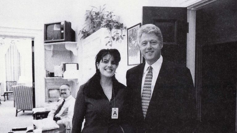 President Clinton poses with Monica Lewinsky in a Nov. 17, 1995 photo, that was released Sept. 21 by Independent Counsel Kenneth Starr as part of more than 3,000 pages of documents pertaining to the scandal.