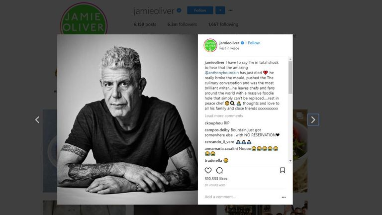Jamie Olivr said Bourdain 'broke the mould'