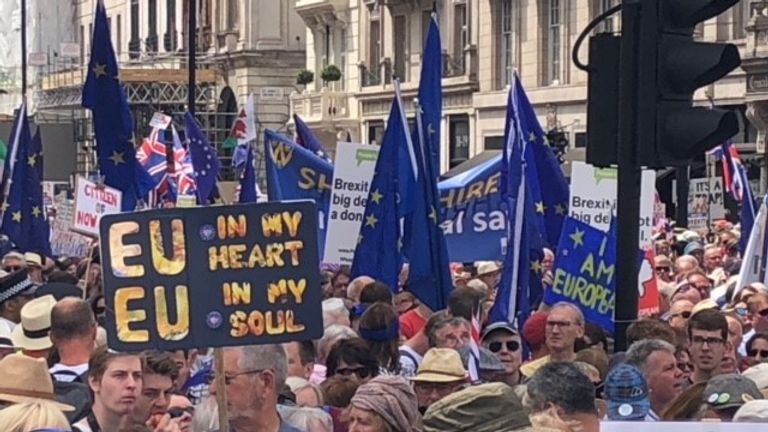 People travelled to London from all over the UK to attend the march, organised by People's Vote UK, on the second anniversary of the EU Referendum.