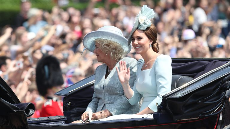 Catherine and Camilla rode together as their husbands were on horseback