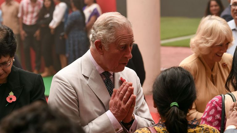 Prince Charles and the Duchess of Cornwall in New Delhi during their tour of India, Malaysia, Brunei