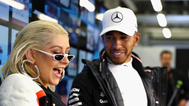 Aguilera and Hamilton at the Azerbaijan Grand Prix in April, 2018
