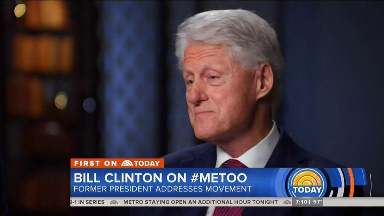 """In an interview with NBC News, the former US president said the #MeToo movement was """"long overdue"""", but became defensive when asked about his sexual relationship with Ms Lewinsky, who was 22 at the time."""