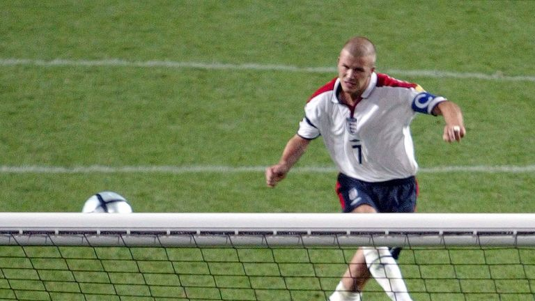 David Beckham blazes over during England's penalty shootout defeat to Portugal at Euro 2004