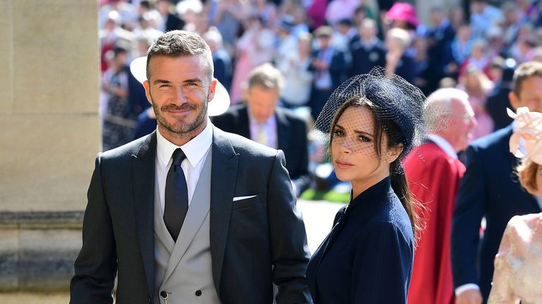 David and Victoria Beckham at the wedding of Prince Harry to Meghan Markle in Windsor